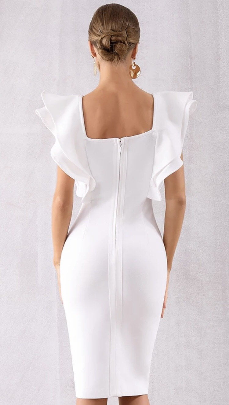Jessica Bara Luella Ruffle Shoulder Bodycon Dress
