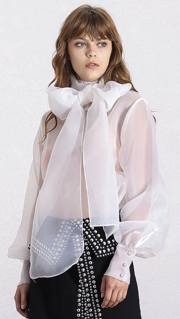 Jessica Bara Joy Long Sleeve Bow Blouse
