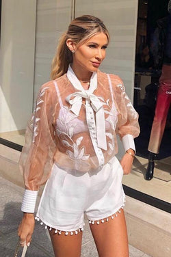 Jessica Bara Valencia Sheer Lace Two Piece Set