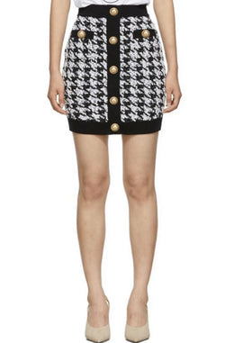 Jessica Bara Hayden Houndstooth Tweed Mini Skirt