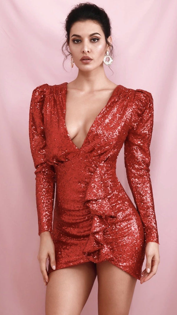 Jessica Bara Astor V Neck Sequin Ruffle Mini Dress