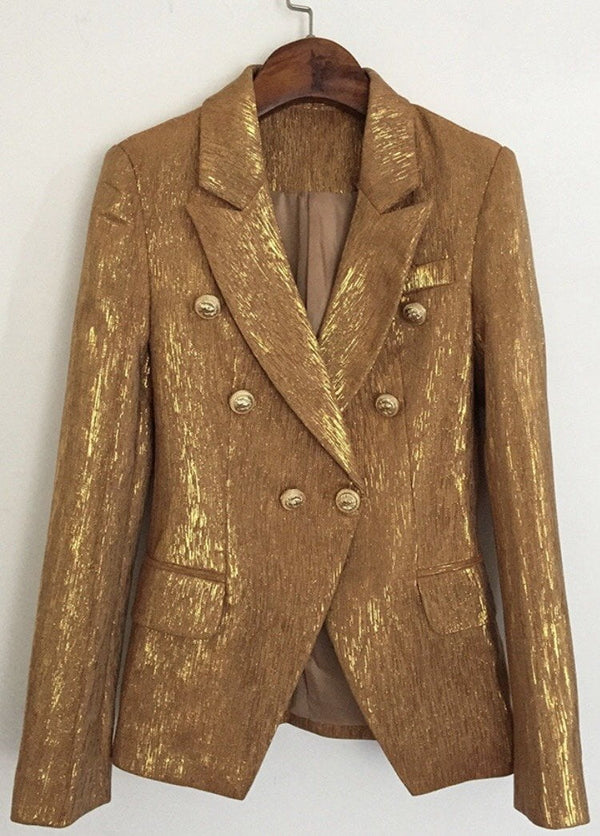 Jessica Bara Donatella Metallic Gold Button Blazer