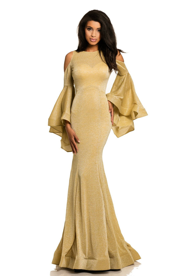 Johnathan Kayne Bell Sleeve Glitter Knit Gown