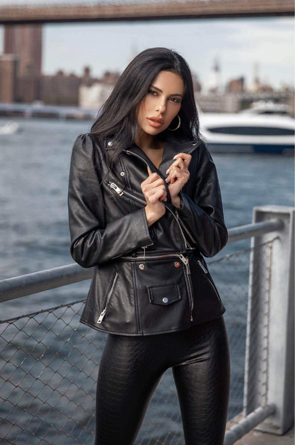 Jessica Bara Hailee Vegan Detachable Double Leather Jacket