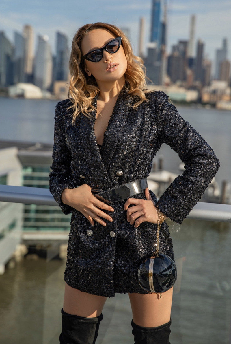 Jessica Bara Yesi Sequin Double Breasted Jacket
