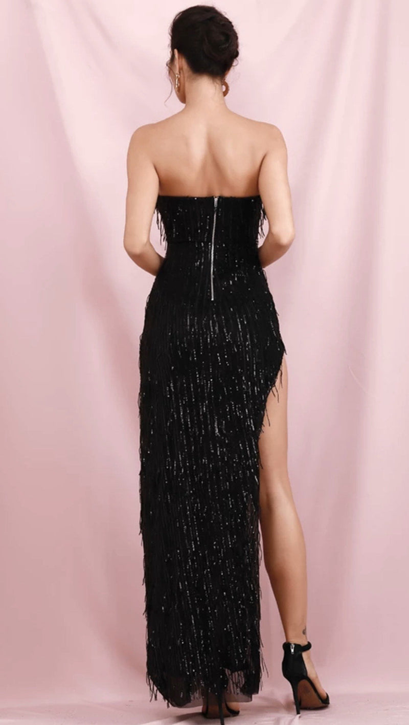 Jessica Bara Gracelyn Strapless Tassel Sequin Gown
