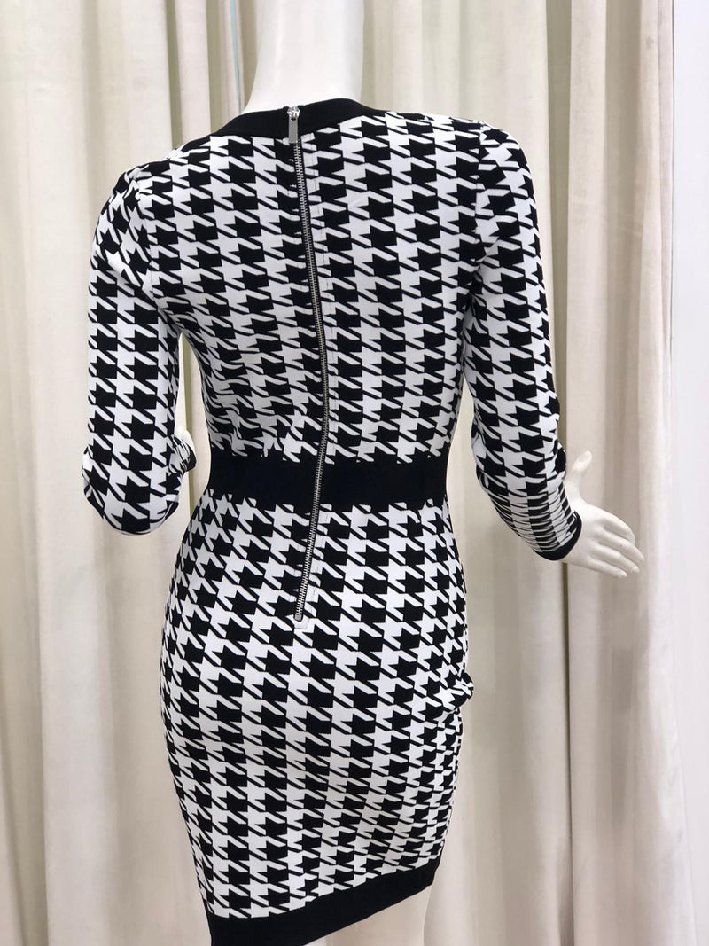 Jessica Bara Alma Long Sleeve Houndstooth Dress