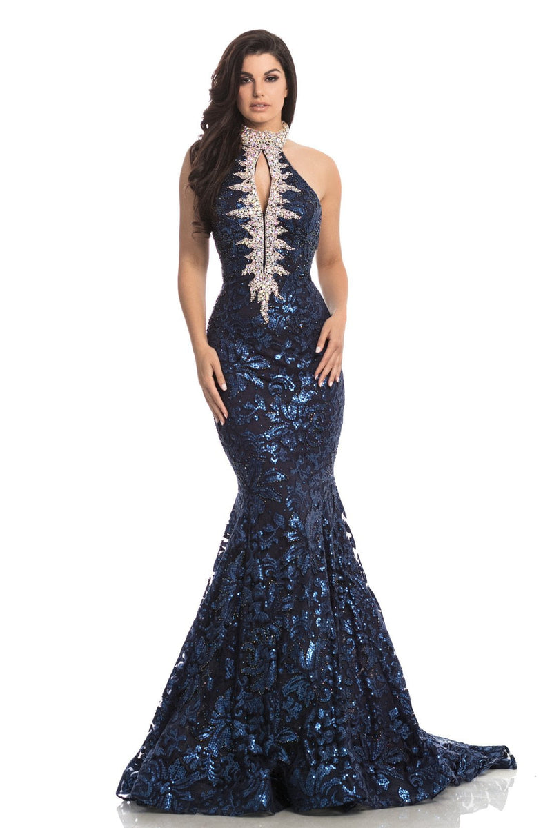 Johnathan Kayne Beaded Mermaid Sequin Lace Gown