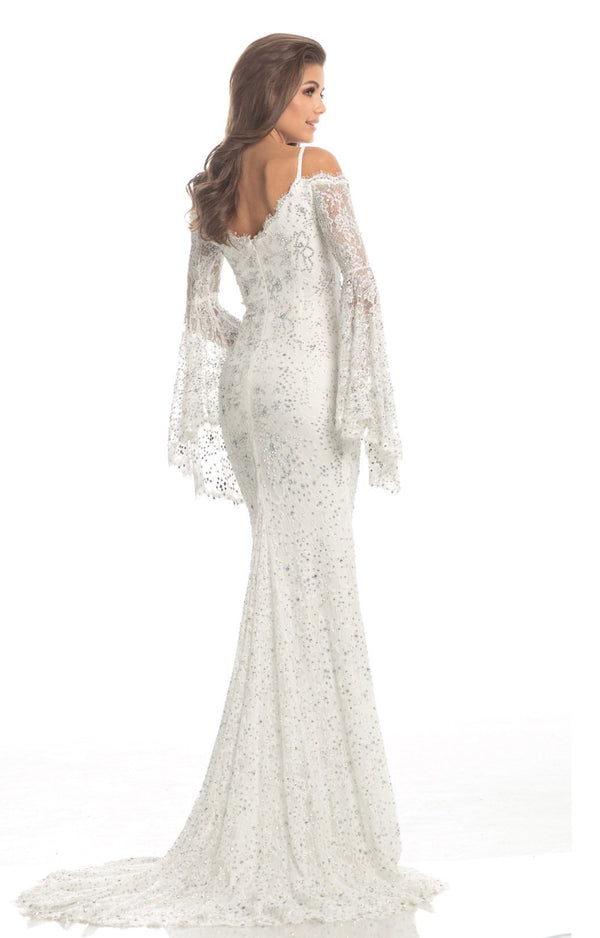 Johnathan Kayne Off Shoulder Lace Gown