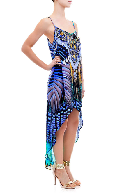Shahida Parides Feather Print High Low Dress