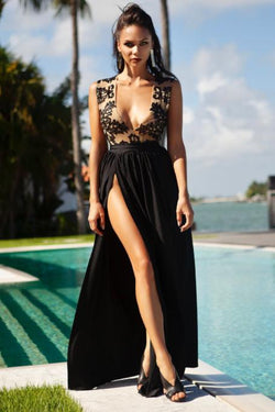 Cioccolato Ciara High Slit Sequin Dress