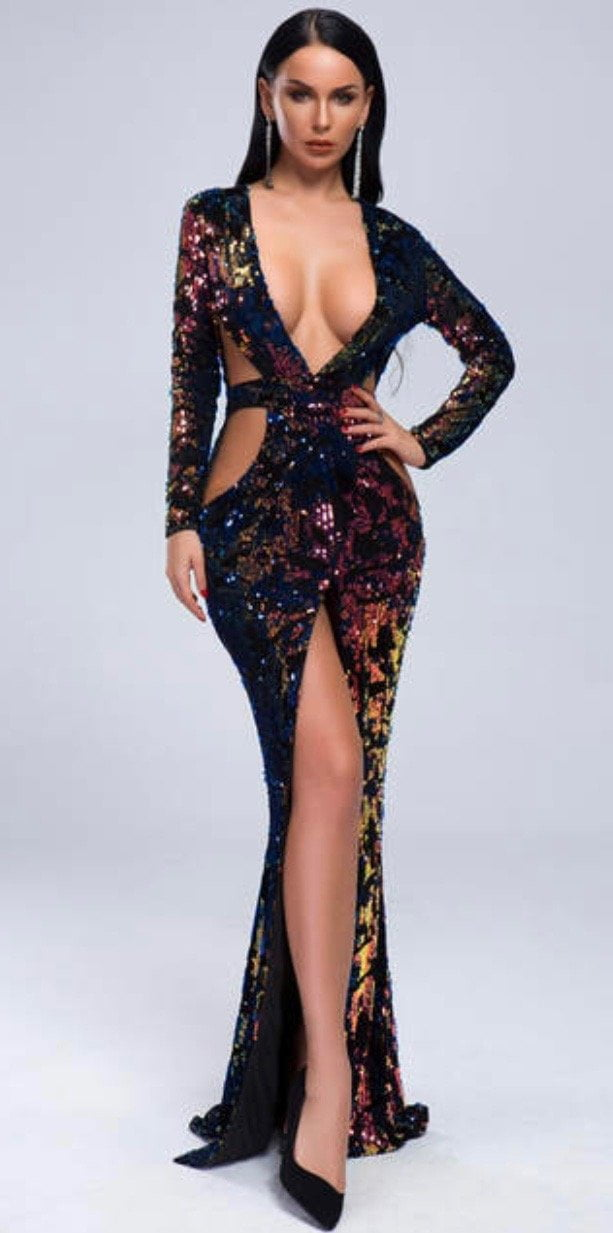 Jessica Bara Jayda Sequin Deep V Evening Gown