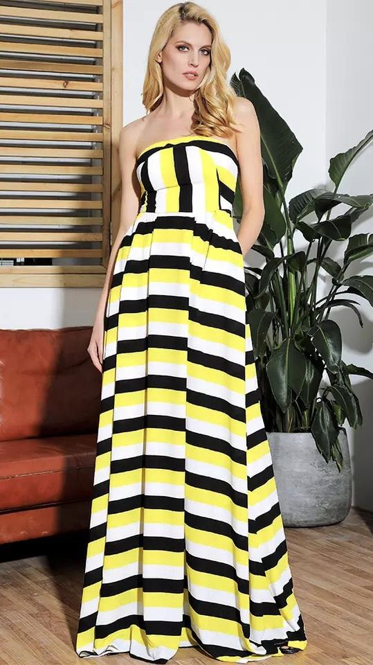 Jessica Bara Lemonade Tube Top Maxi Dress