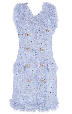 Jessica Bara Francene Lace Tweed Button Dress