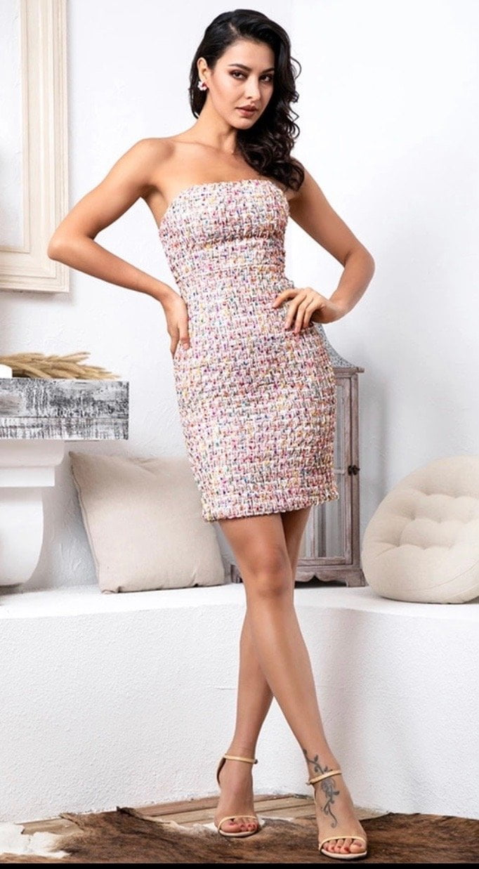 Jessica Bara Freida Tube Tweed Dress