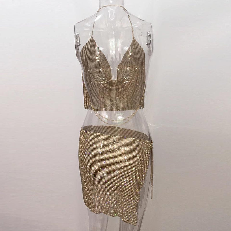 Jessica Bara Rio Crystal Halter Two Piece Set