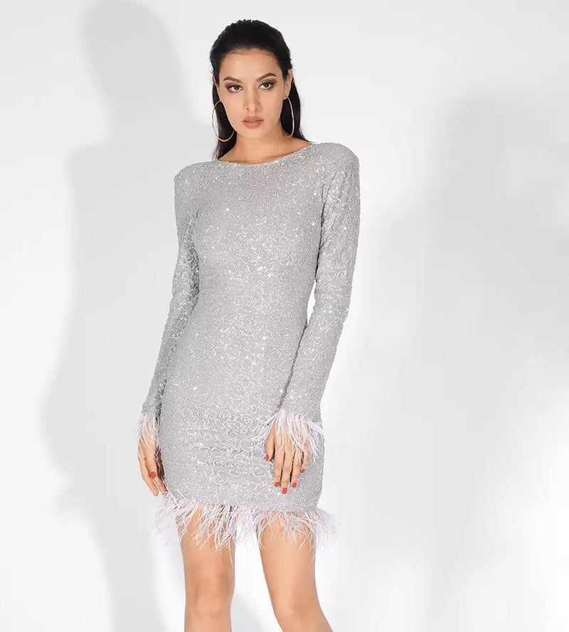 Jessica Bara Cara Long Sleeve Glitter Feather Dress
