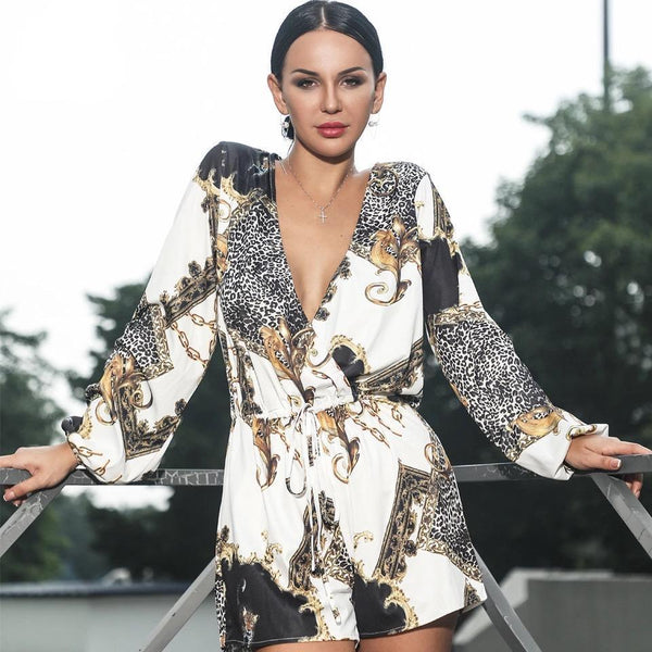 Jessica Bara Aria Long Sleeve V Neckline Playsuit