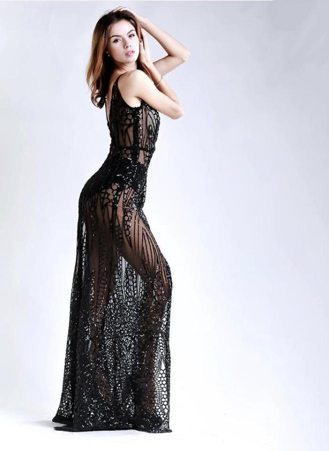 Jessica Bara Bezel Sequin High Slit Gown