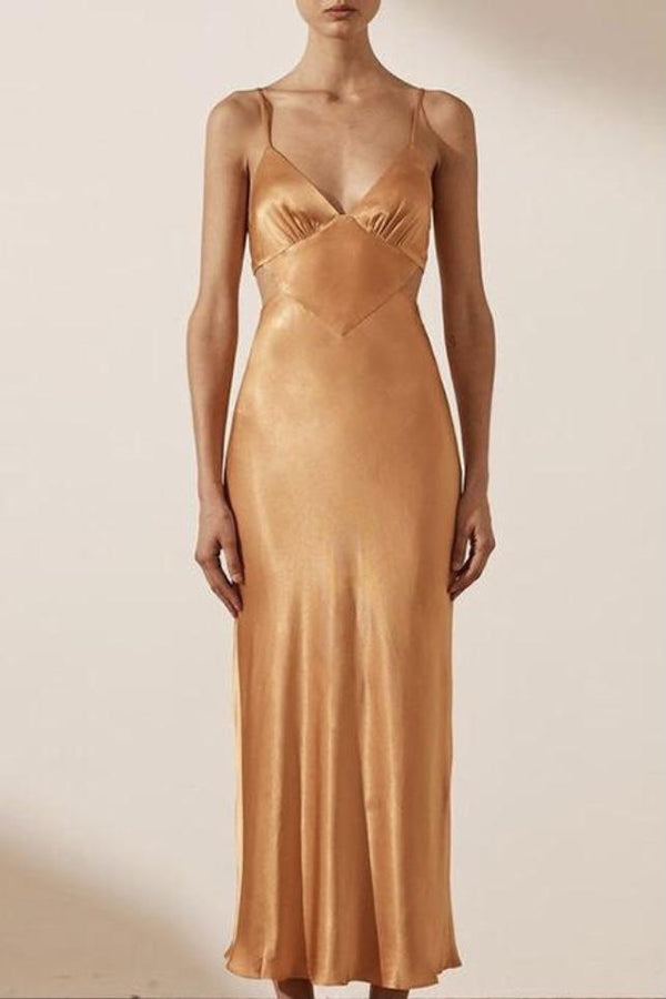 Jessica Bara Kyla Satin Maxi Dress