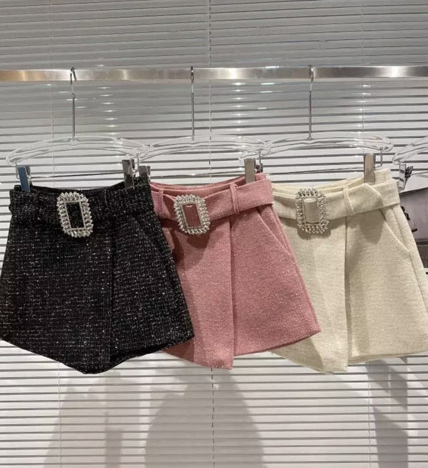 Jessica Bara Mandy Tweed Belted Shorts