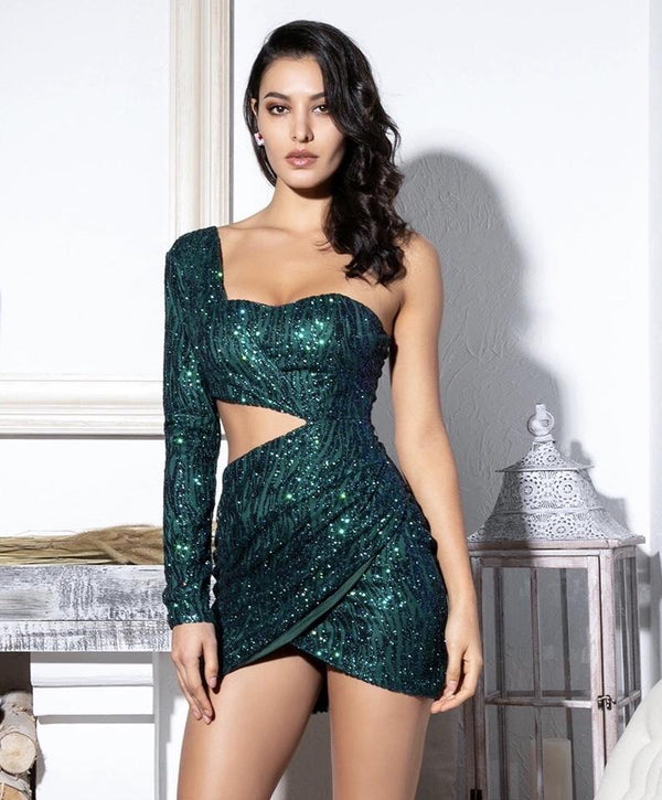 Jessica Bara Emerald Glitter Beaded Dress