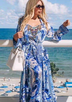 Shahida Parides Blue And White Chinoiserie Print Long Robe