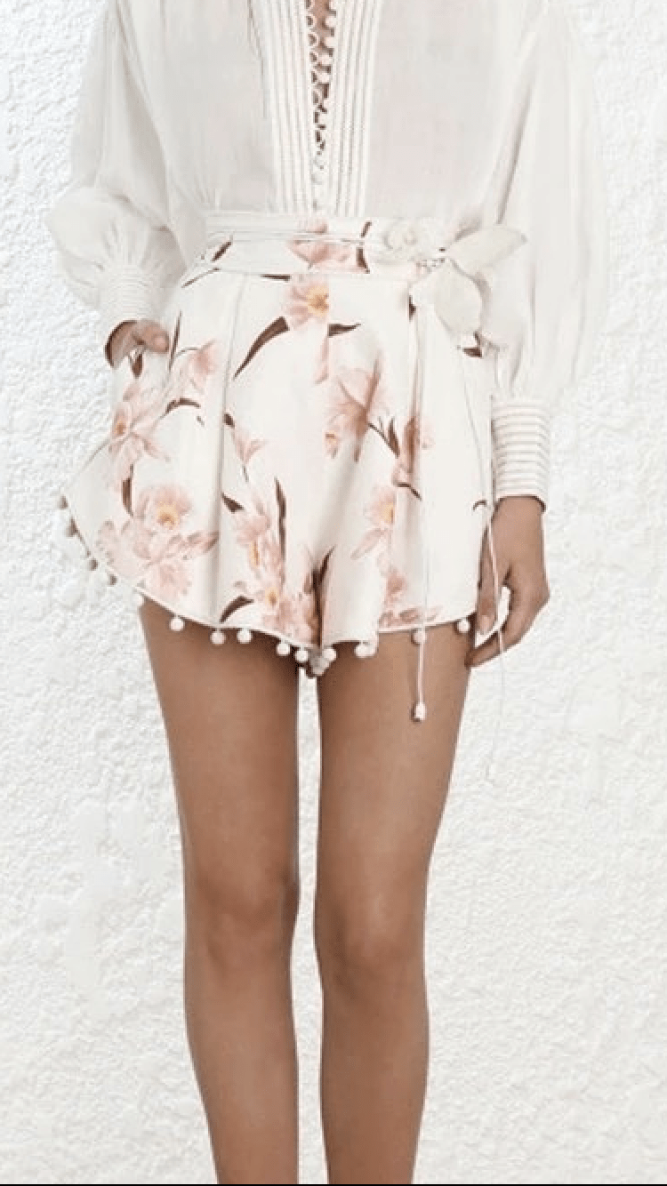 Jessica Bara Two Piece Alivia White Top and Floral Shorts
