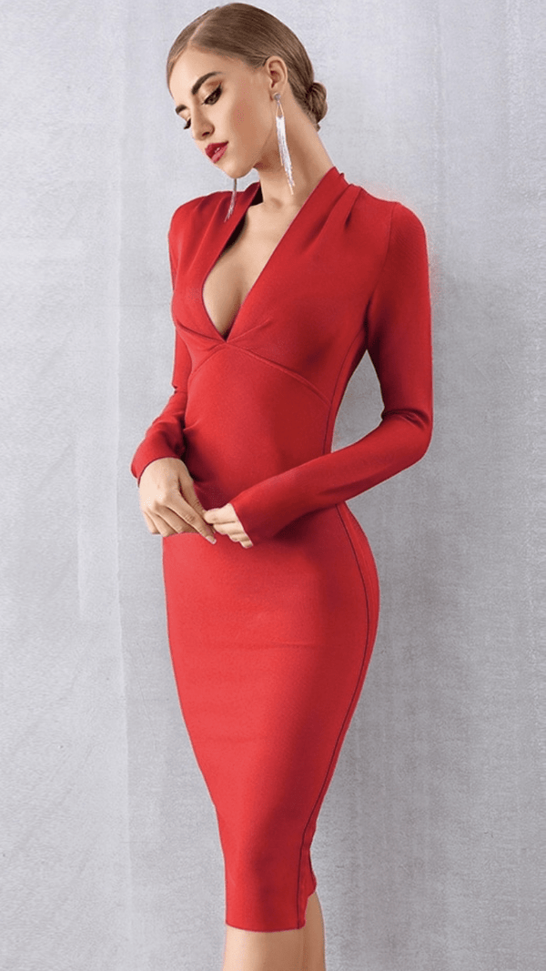 Jessica Bara Steffan Long Sleeve Bandage Dress