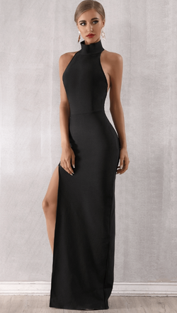 Jessica Bara Kennedy Halter Hollow Maxi Dress