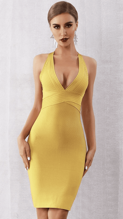 Jessica Bara Honey Bandage Open Back Midi Dress