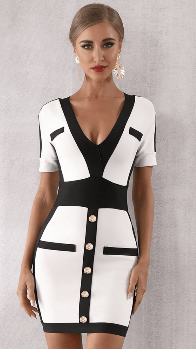 Jessica Bara Clash Color Block Bodycon Dress