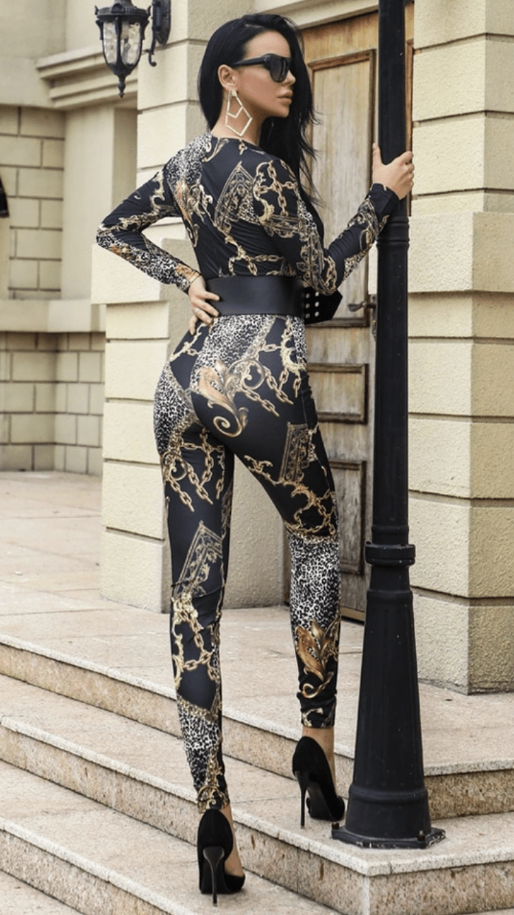 Jessica Bara Kaela Printed Long Sleeve Jumpsuit