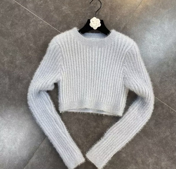 Jessica Bara Devon Long Sleeve Fuzzy Knitted Sweater