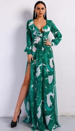 Jessica Bara Frann Tropical Print Dress