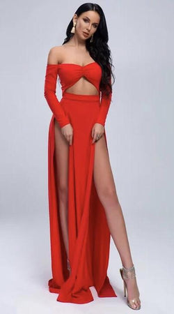 Jessica Bara Madeline Off Shoulder Double Slit Maxi Dress