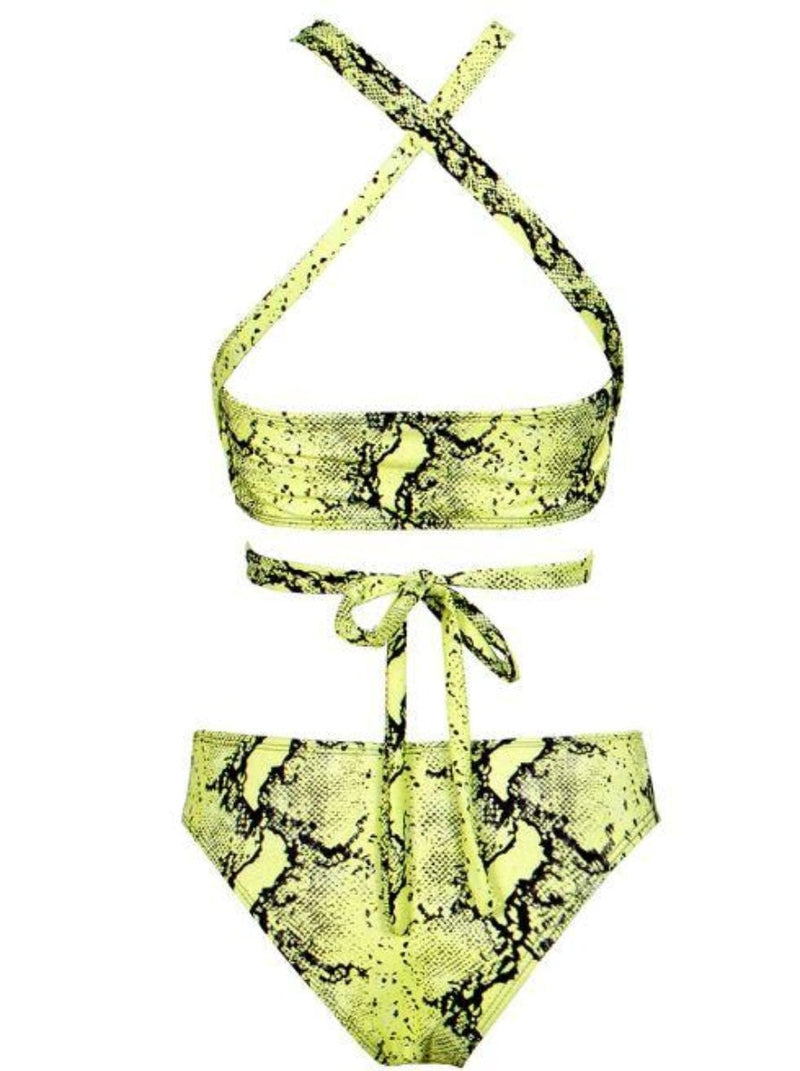Jessica Bara Trista Snakeskin Strappy Two Piece Swimsuit