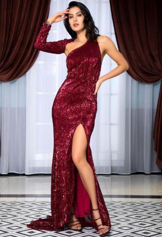 Jessica Bara Masika One Shoulder Sequin Long Dress