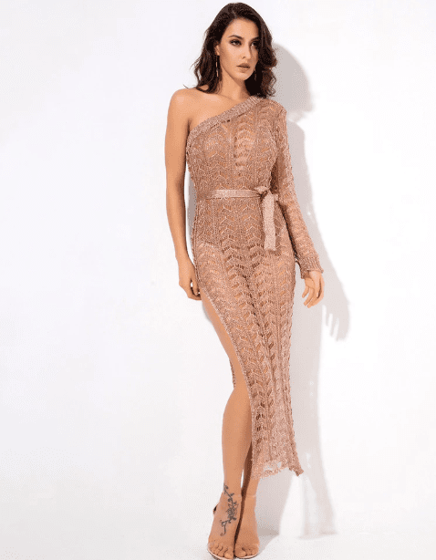 Jessica Bara Lina One Shoulder Knit Midi Dress