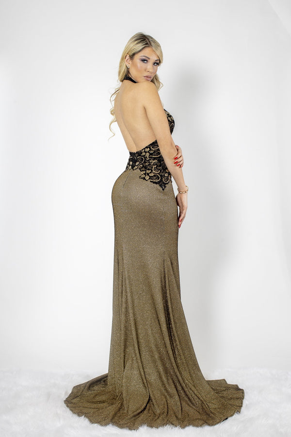 Baccio Lola Metallic Crystal Halter Neck Gown