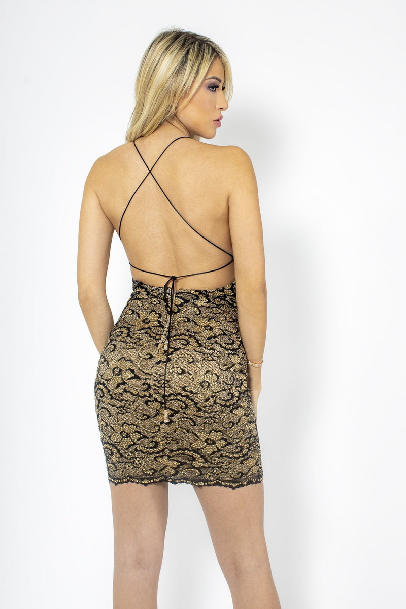 Baccio Naylet Lace Strappy Back Mini Dress