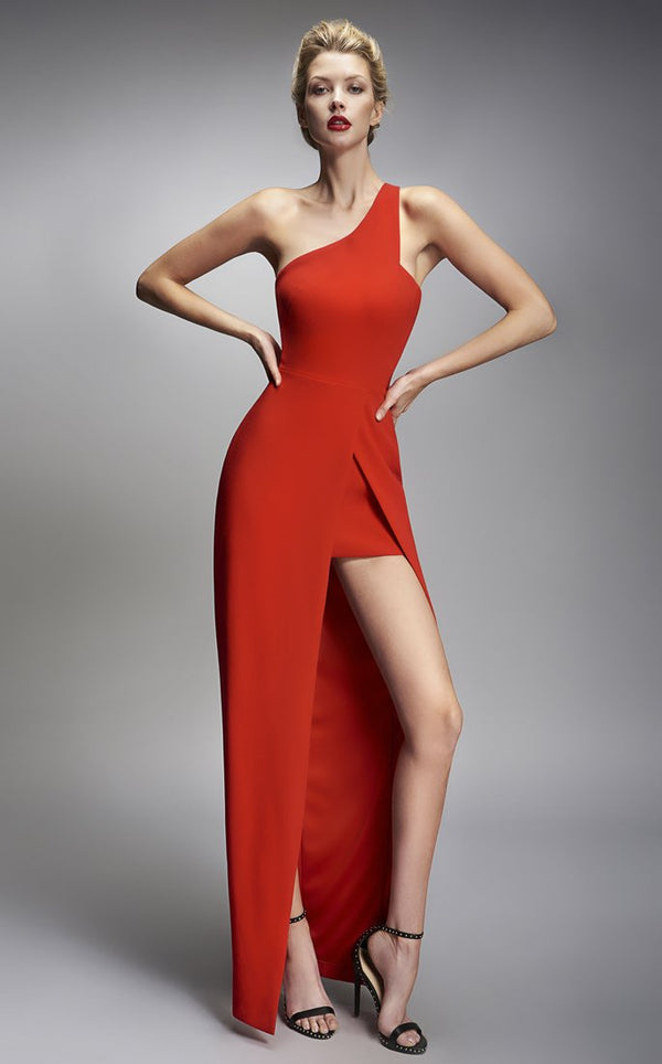 Nicole Bakti One Shoulder High Slit Dress