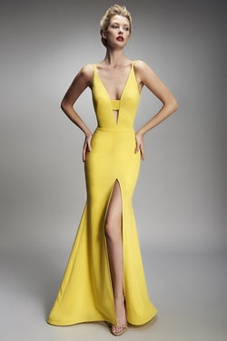 Nicole Bakti Deep V High Slit Long Dress