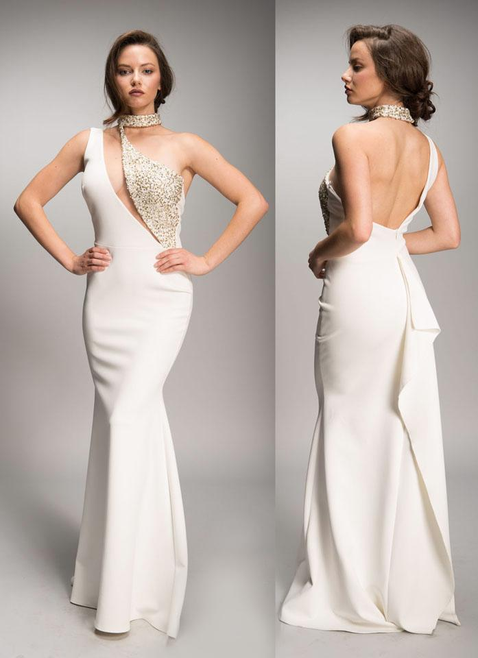 Nicole Bakti One Shoulder Cut Out Bead Embellished Long Dress