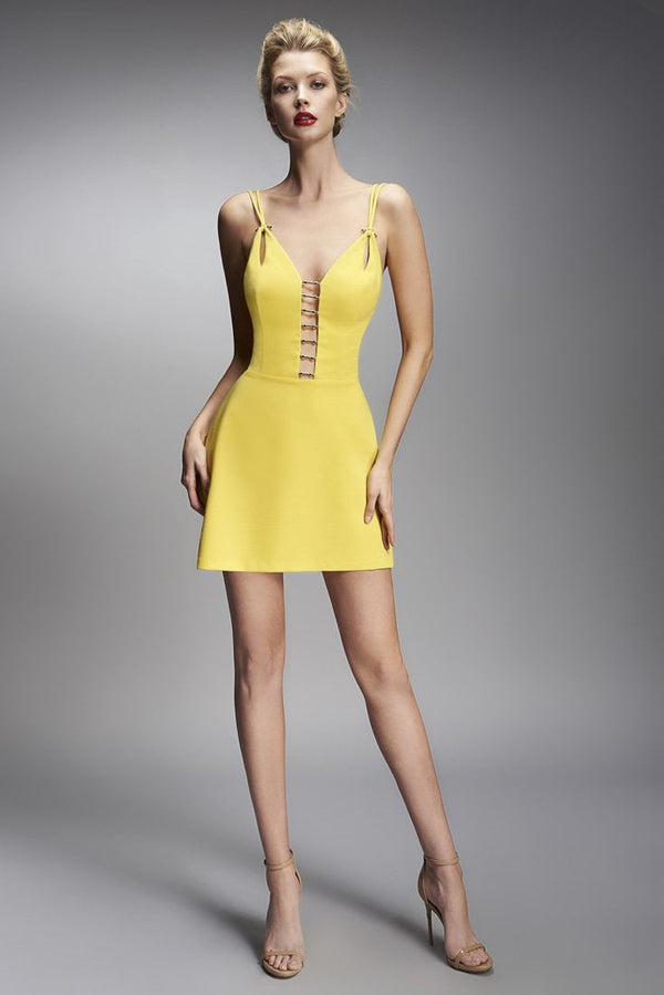 Nicole Bakti Deep V Cut Out Short Dress