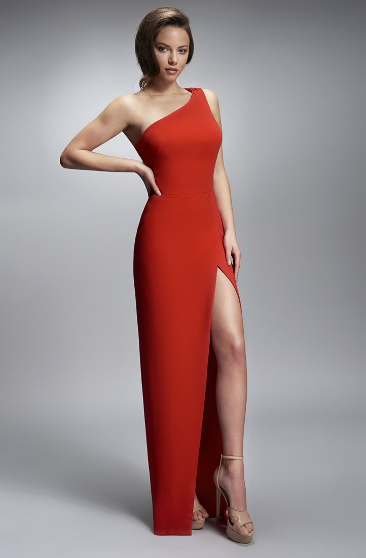 Nicole Bakti One Shoulder High Slit Long Dress