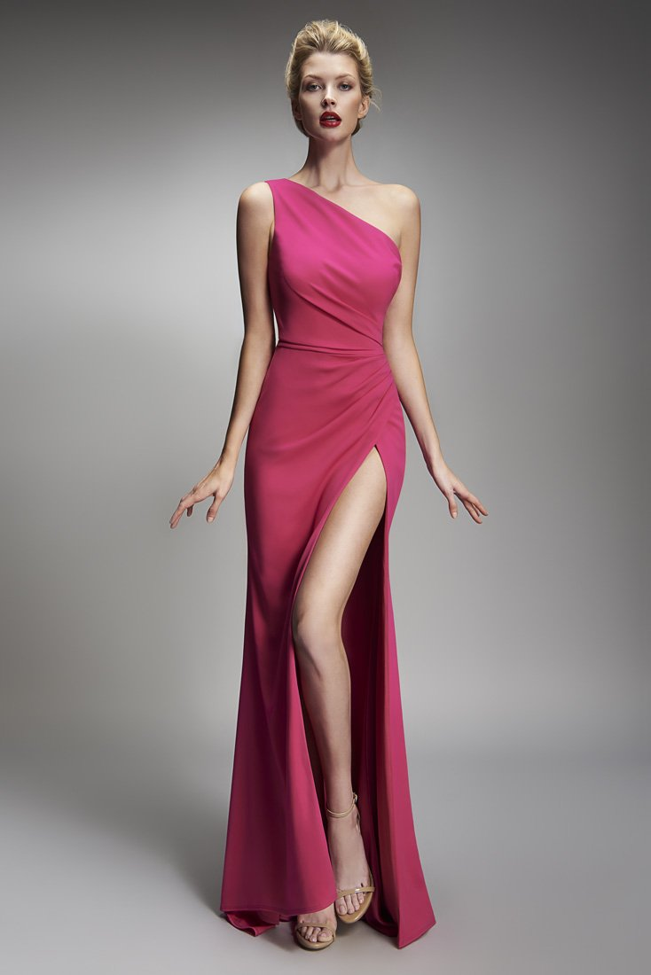 Nicole Bakti One Shoulder Draped High Slit Long Dress