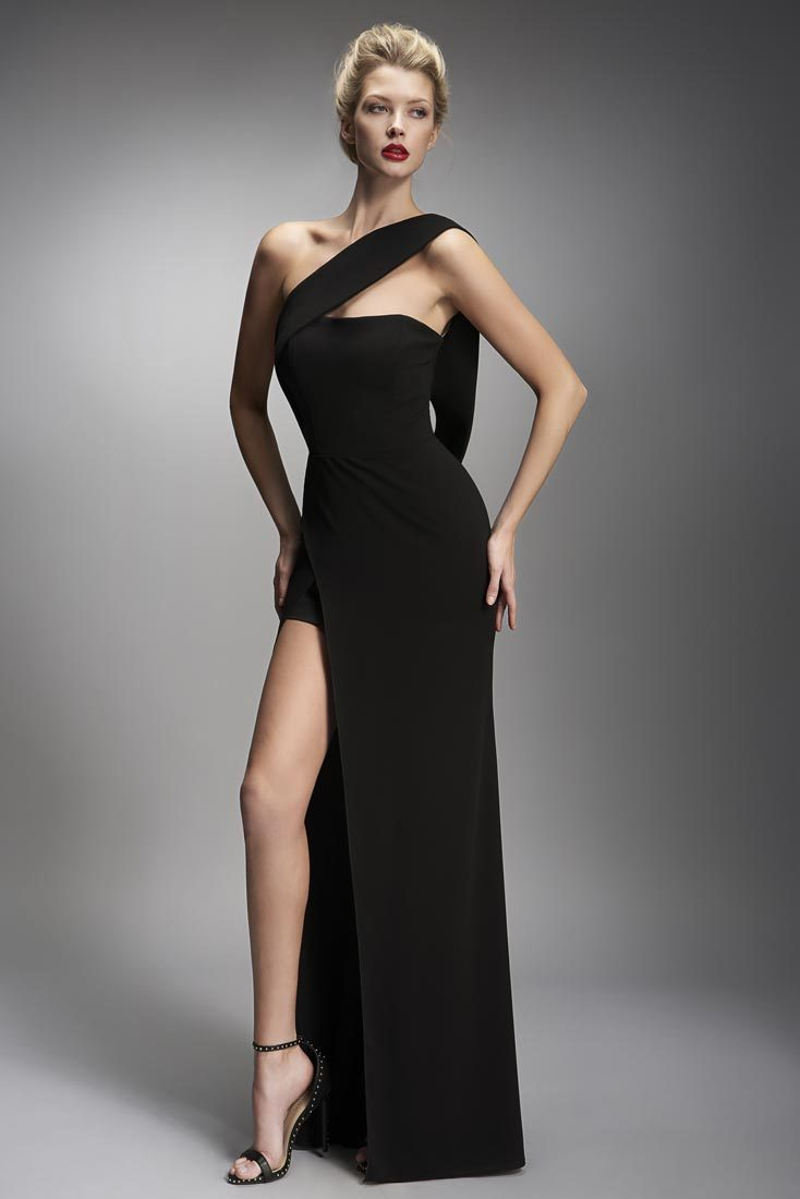 Nicole Bakti Open Back Draped One Shoulder High Slit Long Dress