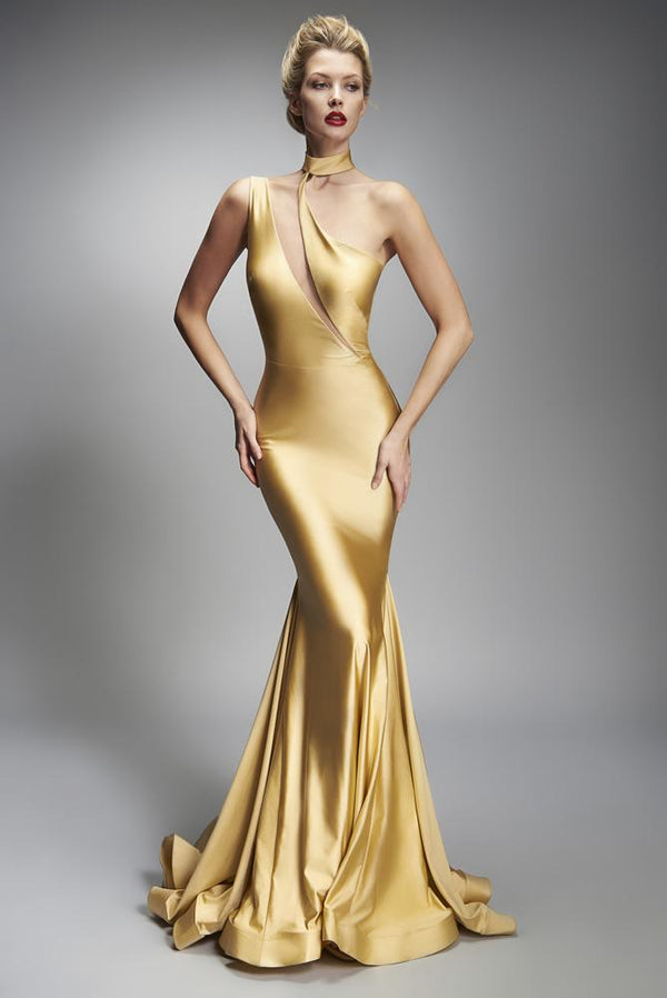 Nicole Bakti One Shoulder Cut Out Long Dress