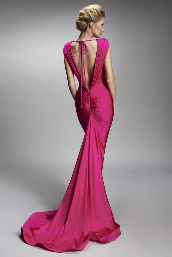 Nicole Bakti Deep V Front Knot Low Back Long Dress